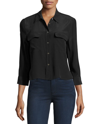 Cropped 3/4-Sleeve Signature Shirt, True Black