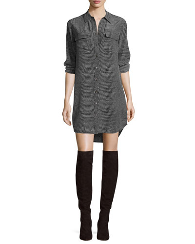 Slim Signature Printed Silk Shirtdress, True Black