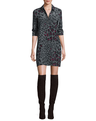 Lucida Leopard-Print Silk Shirtdress, Gunmetal