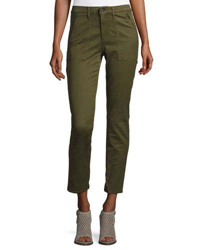Kinsley Sulfur Palm Green Twill Ankle Jeans