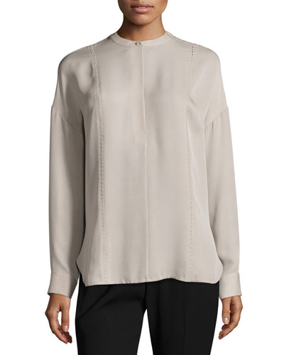Long-Sleeve Embroidered Stretch-Silk Blouse, Taupe