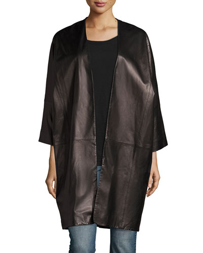 Oversized Dolman-Sleeve Lambskin Shell Jacket, Black