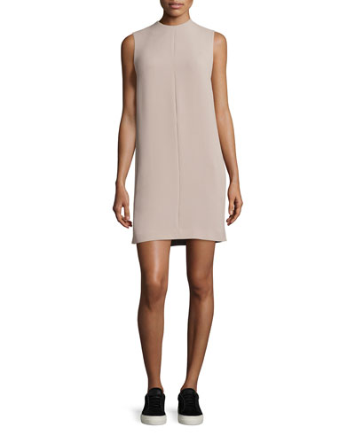 Sleeveless Pleated-Back Shift Dress, Sand