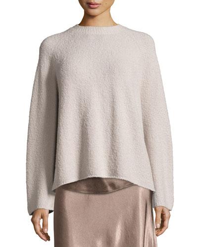Ladder-Stitched Funnel-Neck Cashmere-Blend Sweater, Hazel