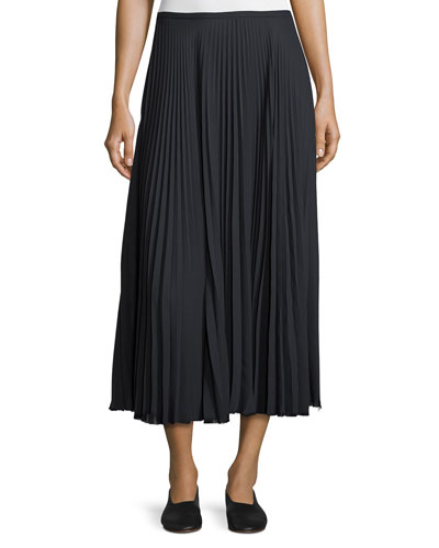 Pleated A-Line Midi Skirt, Coastal Blue