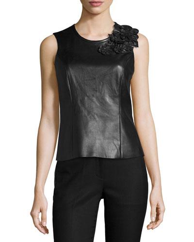 Richelle Leather Lace-Back Floral-Appliqué Top