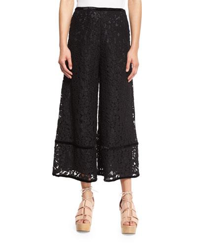 Lace-Trim Velour Culottes, Black