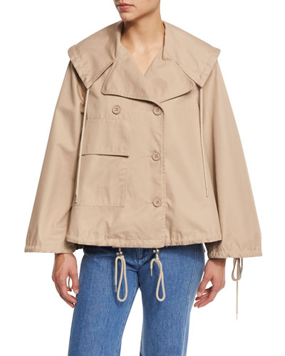 Boxy Cotton Twill Drawstring Jacket, Straw