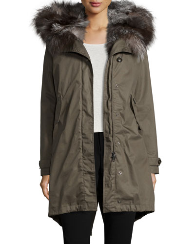 Literary Fur-Trim Cotton Parka Coat, Military Olive