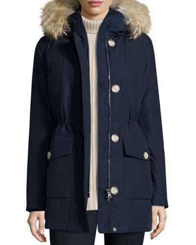 Long Hooded Arctic Parka Coat w/ Coyote Fur, Melton Blue