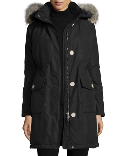 Long Hooded Arctic Parka Coat w/ Coyote Fur, New Black