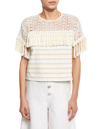 Boxy Cropped Mixed-Media Tee, Cream