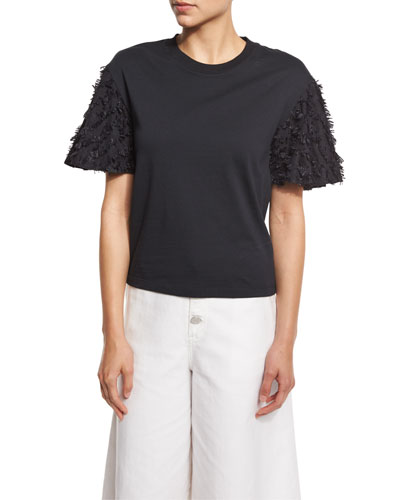 Short-Sleeve Fringe Jersey Tee, Black