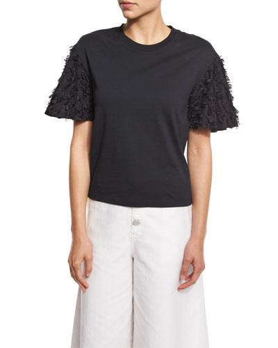 Short-Sleeve Fringe Jersey Tee, Black