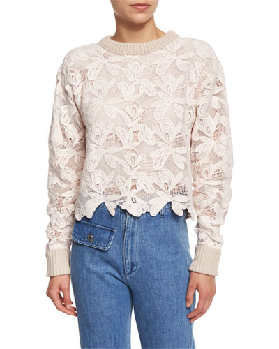 Floral Mesh Pullover Sweater, Powder