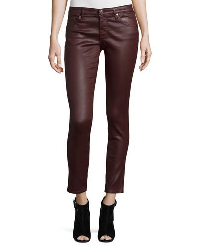 Leatherette Ankle Leggings, Wine