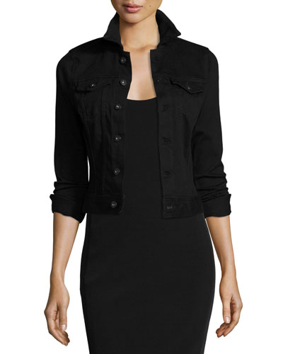 Robyn Button-Front Denim Jacket, Black