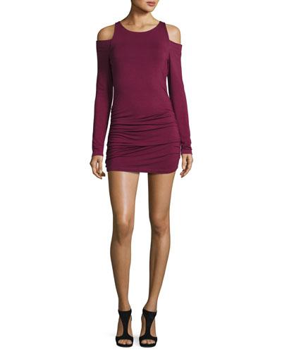 Kila Cold-Shoulder Jersey Dress, Burgundy