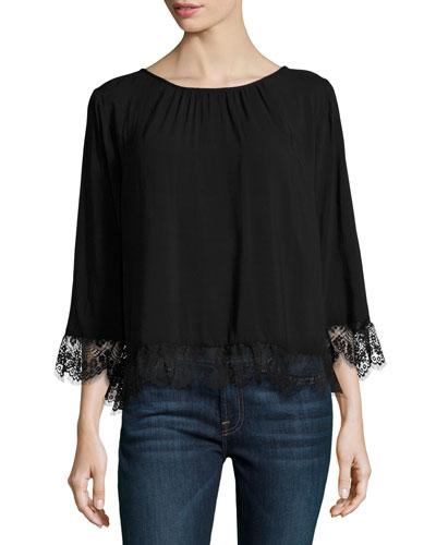 Schanelle Lace-Trim Top, Black