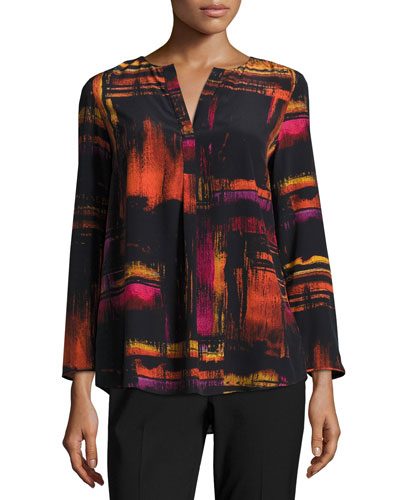 Samantha 3/4-Sleeve Abstract-Print Silk Blouse, Black Multi