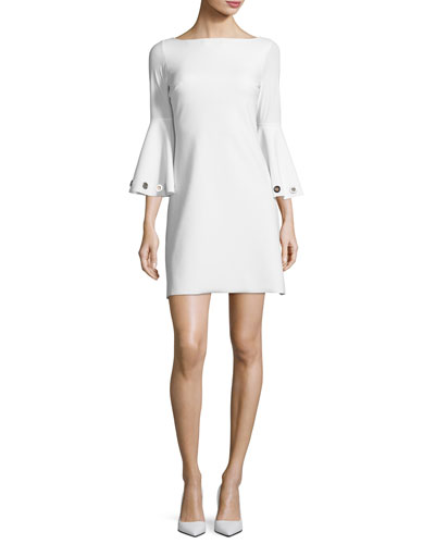 Bell-Sleeve Ponte A-Line Dress, Blanco