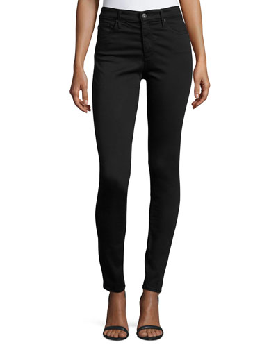 Farrah High-Rise Sateen Pants, Black