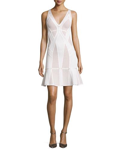 Sleeveless Mesh-Bandage Flounce-Hem Dress, White