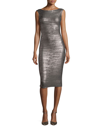 Ardell Sleeveless Bateau-Neck Bandage Dress, Gunmetal Combo