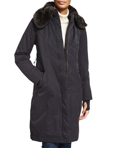 Lady Taylor Coat with Removable Fur Collar