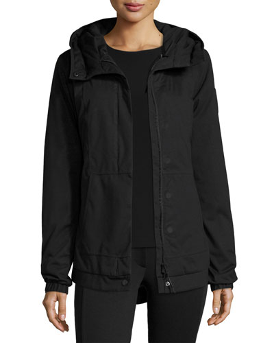 Scarlett Hooded Melange Jersey Down Jacket, Charcoal