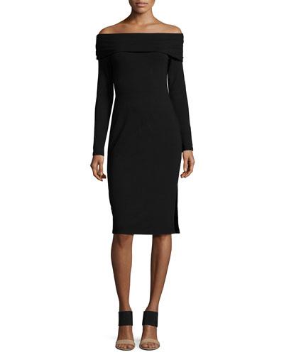 Off-the-Shoulder Long-Sleeve Jersey Dress, Black