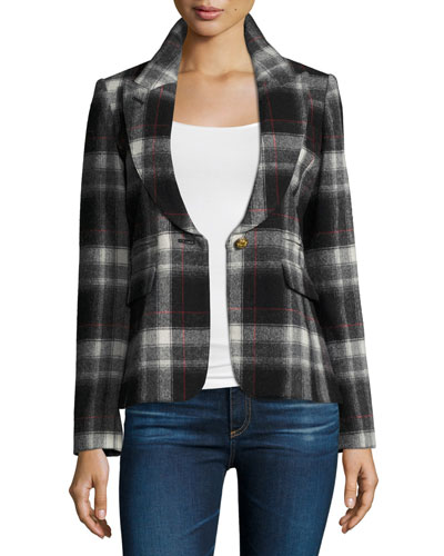 Peak-Lapel Plaid Blazer with Leather Trim