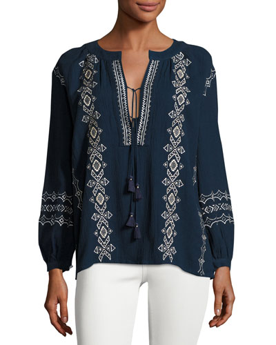 Sanor Embroidered Top, Sapphire