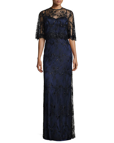 Stretch Satin Lace-Overlay Gown, Black/Dark Navy