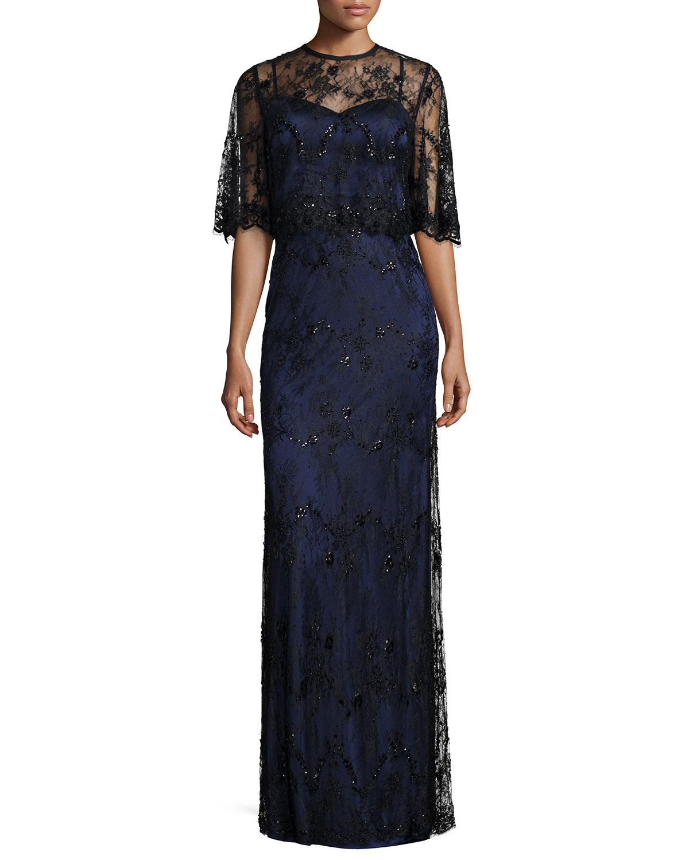 Stretch Satin Lace-Overlay Gown, Black/Dark Navy