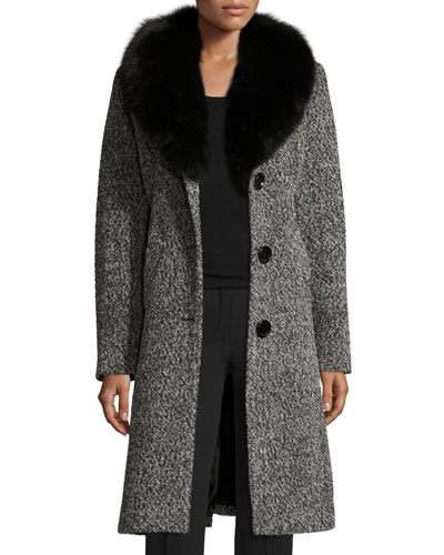 Belted Fox-Trim Boucle Coat, Black/White