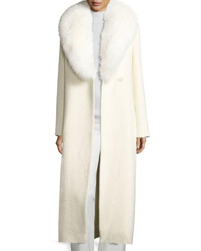 Long Fox-Trim Belted Felt Coat, White