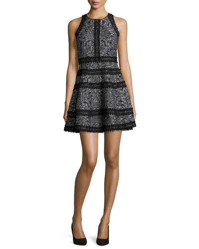 Garnet Floral Lace-Trim Cocktail Dress, Black