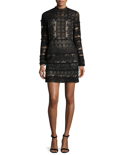 Julie Lace-Combo Long-Sleeve Mini Dress, Black