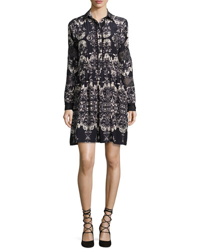 Sal Lace-Inset Printed Shirtdress, Rosaline