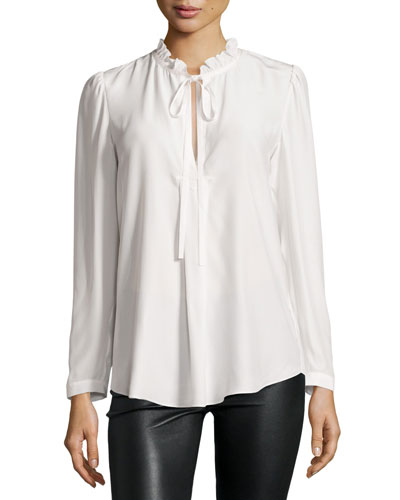 Janice Tie-Neck Silk Blouse, Ivory