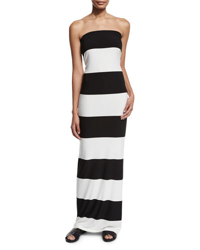 All In One Convertible Gown, Ivory/Black/Stripe