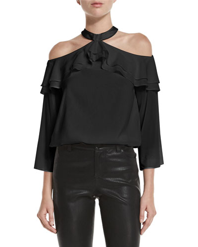 Layla Cold-Shoulder Ruffle Blouson Top, Black