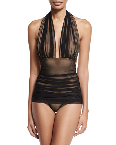 Bill Ruched-Mesh Halter Maillot Swimsuit, Black