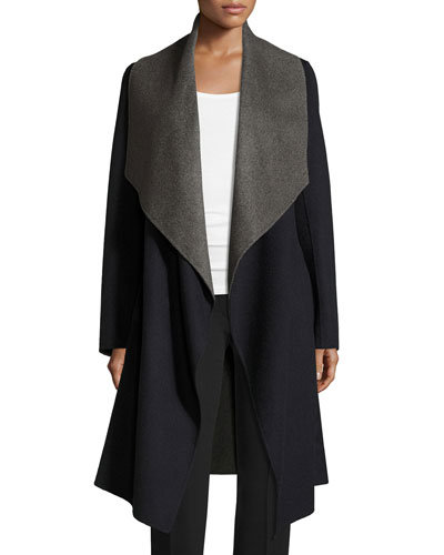Reversible Wool-Blend A-Line Wrap Coat, Navy/Gray