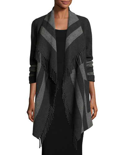 Fringe-Trimmed Striped Wool-Blend Wrap, Charcoal Stripe