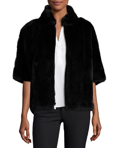 Rabbit Fur Bolero Jacket, Black