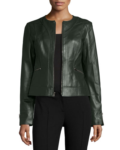 Collarless Zip-Front Lambskin Leather Jacket, Hunter Green