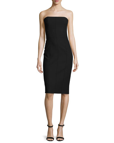 Margo Strapless Paneled Sheath Dress, Black