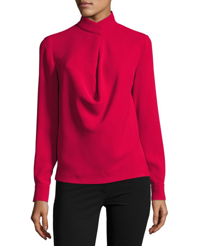 Darby Crepe Mock-Neck Top, Cardinal
